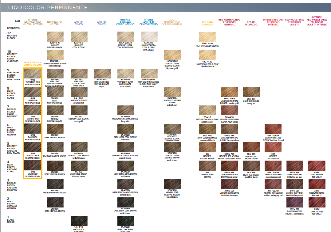 Clairol Professional Hair Color Chart