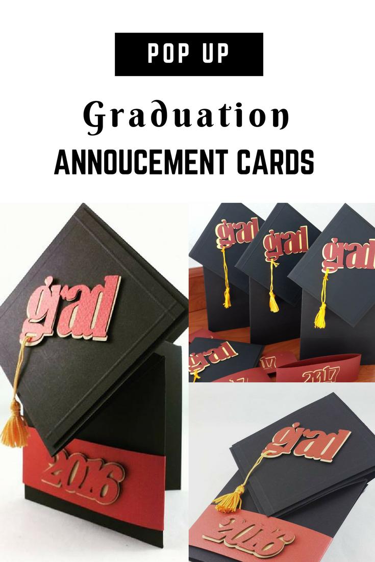 Graduation Cap Pop Up Invitations Cards DIY Gifts