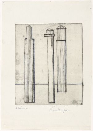 Louise Bourgeois. Untitled, plate 3, first version, only state, from He Disappeared into Complete Silence. (1946-1947)
