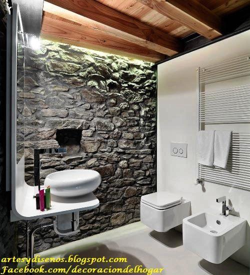 paredes y pisos de piedra para baos by