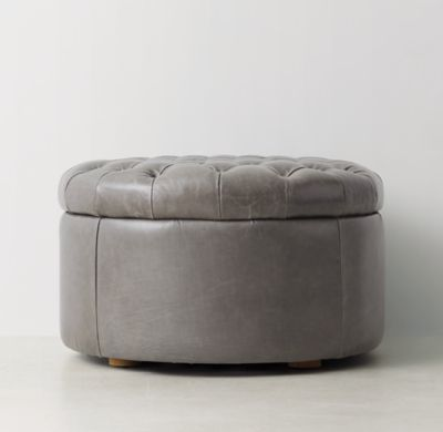 RH TEEN\'s Tufted Round Leather Storage Ottoman:Recalling sumptuous ...