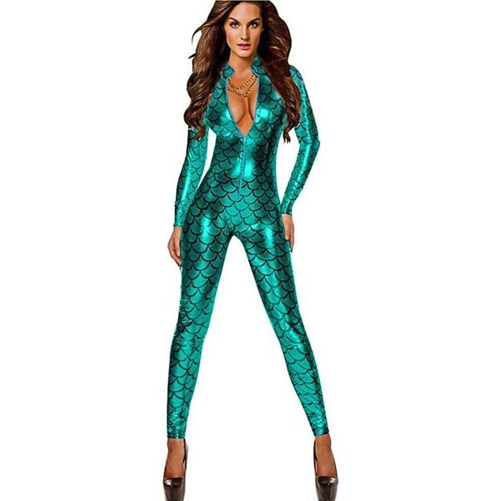 959c6a9474 Women Sexy Mermaid Dragon Scale Costume Cat Suit Halloween Fancy Dress  Jumpsuit  Unbranded  Jumpsuit