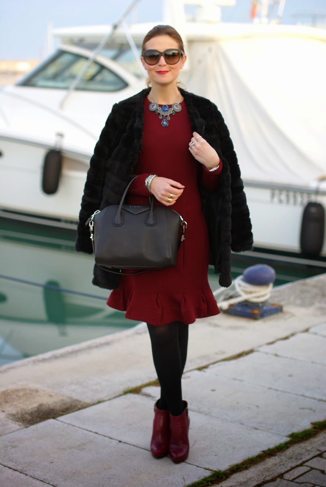 Black faux fur carven burgundy dress givenchy antigona bag