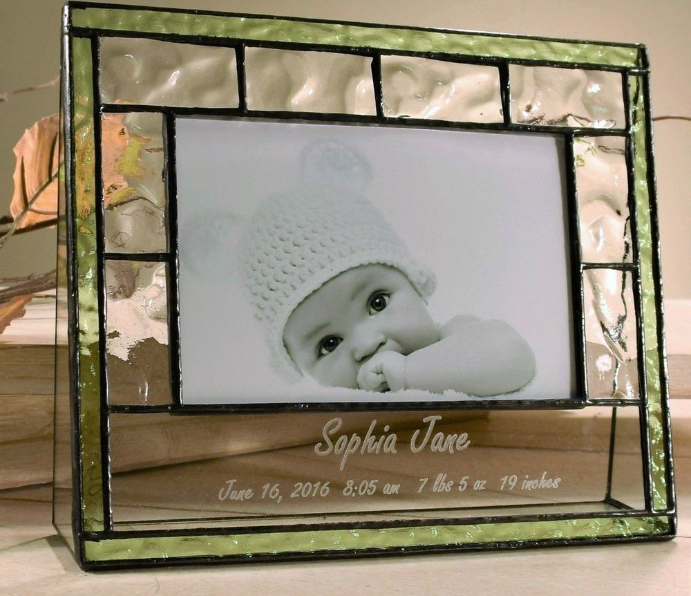 Celebrate the birth of a new baby by giving this playful glass photo ...
