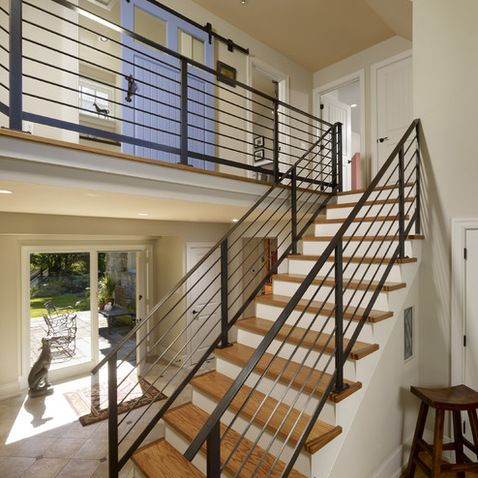 Horizontal Metal Railing Interior Design Ideas Pictures Remodel | Stair Rails For Sale | Metal | Cheap | Stainless | Minimalist | Hand