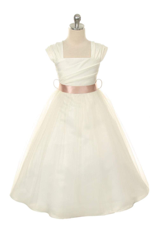 Baby dresses for wedding  IvoryDusty Rose Satin Short Sleeve Flower Girl Dress  fall wedding