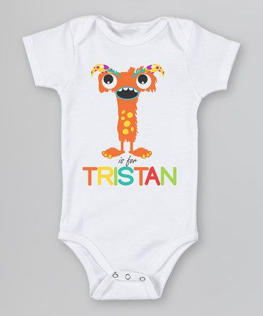 Take a look at this White 'T is For' Monster Organic Personalized Bodysuit - Infant by Morado Designs on #zulily today!