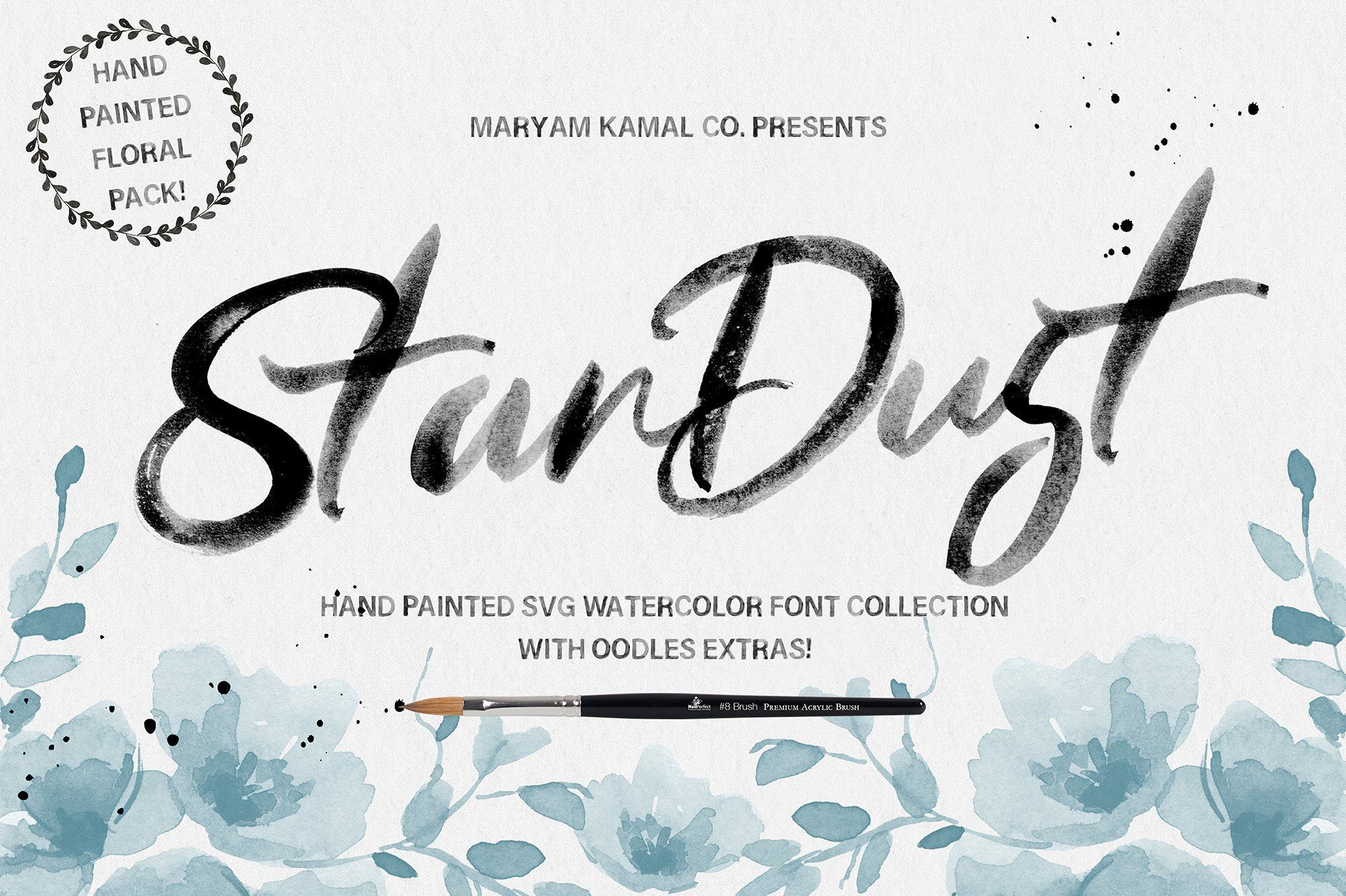 Stardust Font Collection Watercolor Font Lettering Watercolor
