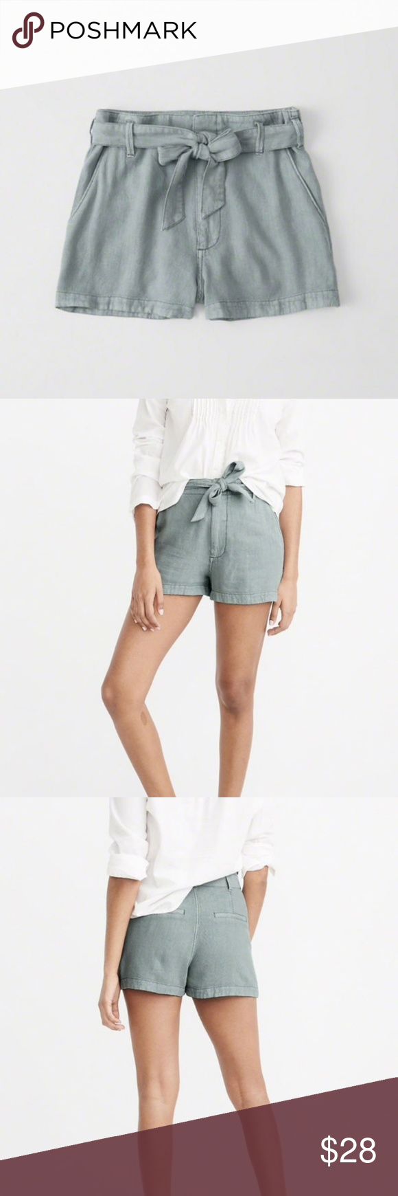 Abercrombie Belted High Rise Shorts Seafoam Green   Clothes