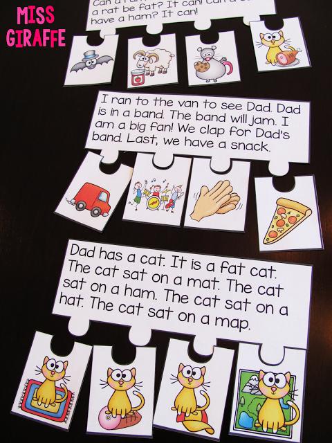 Literacy Bag Long Vowel O Puzzles Resource Supplies phonics center Teacher Made