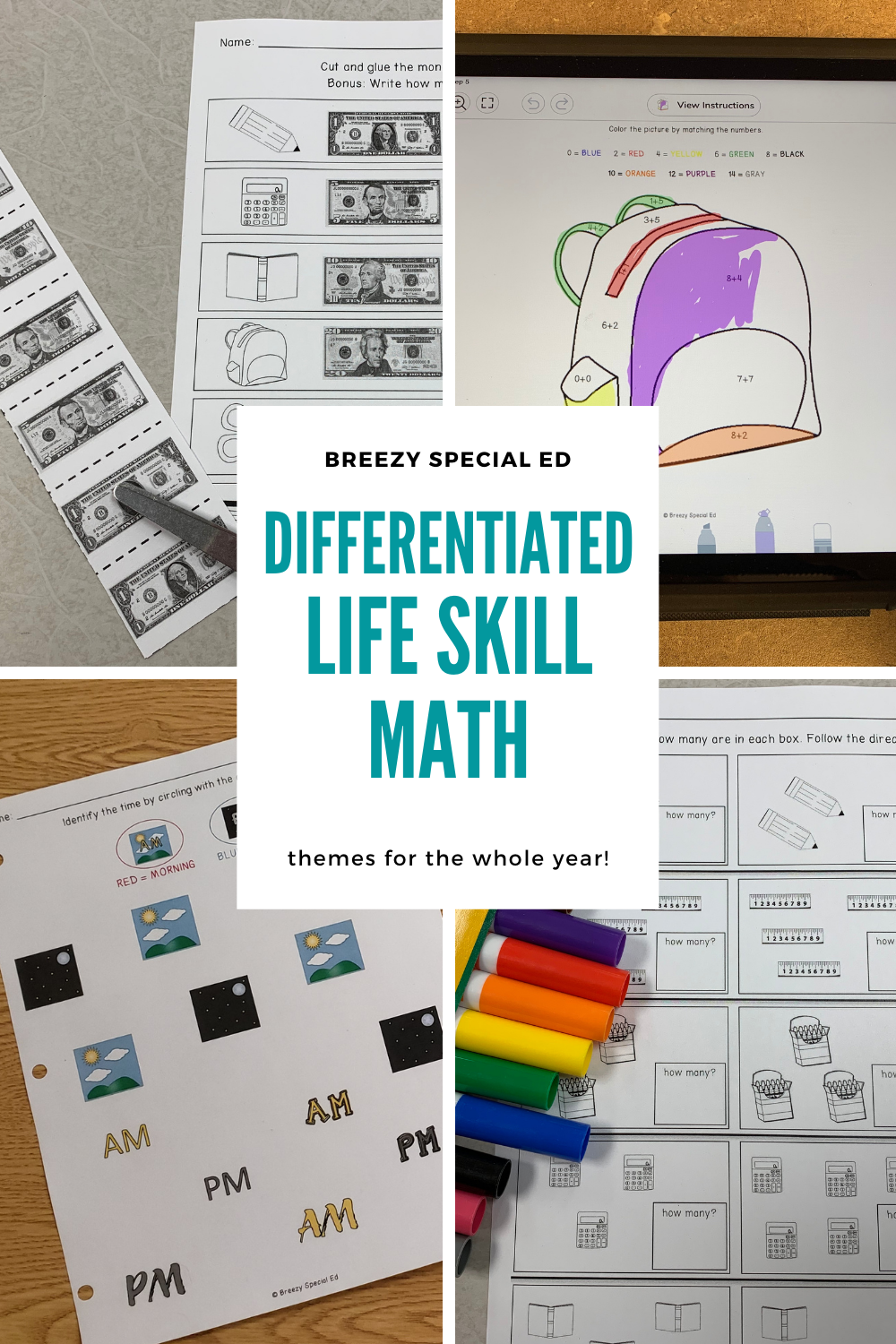 Differentiated Life Skill Math Worksheets For Special Education Life Skills Classroom Teaching Life Skills Life Skills Special Education [ 1500 x 1000 Pixel ]