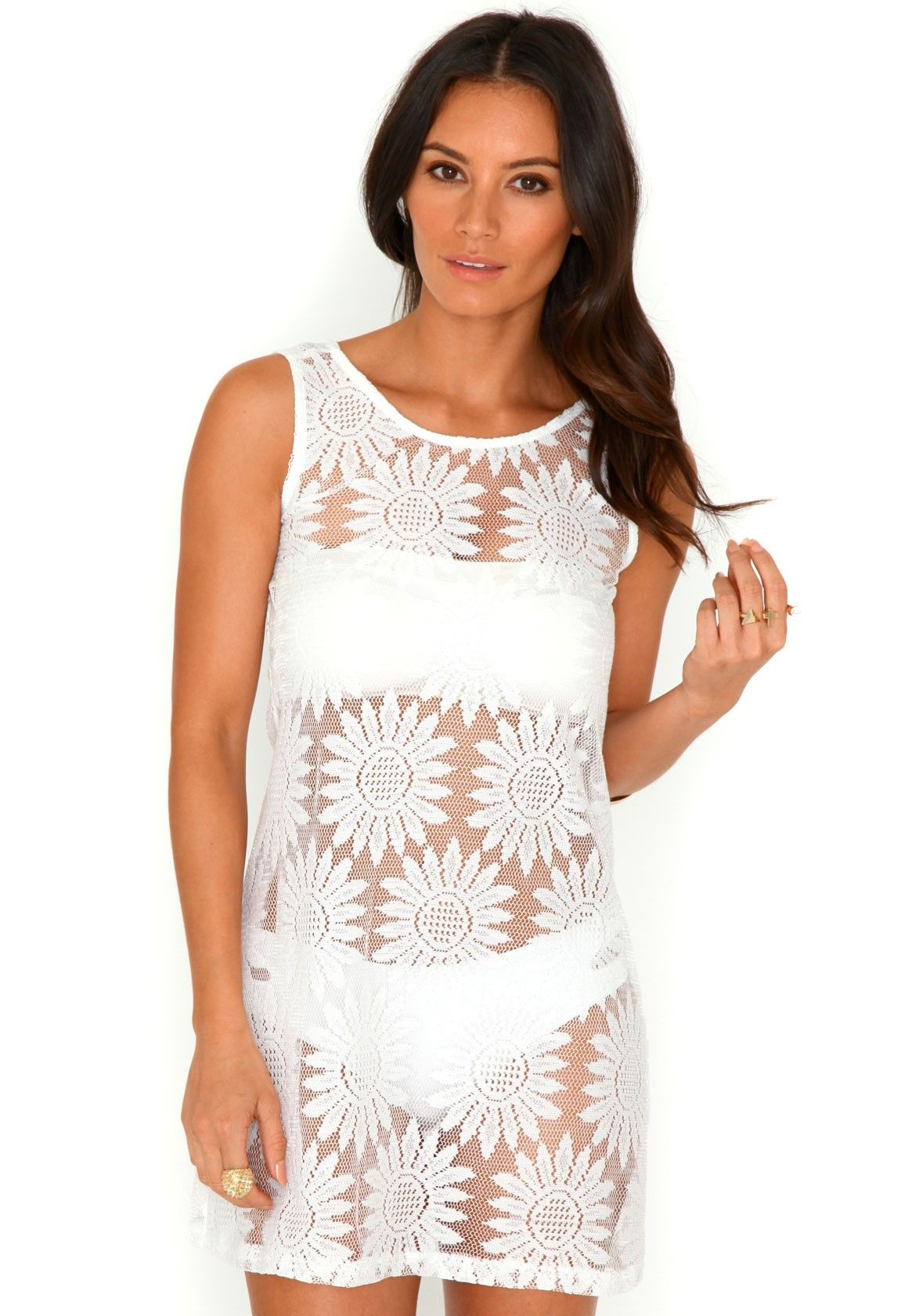 3384fa4ebd91 Adele Lace Beach Dress In White
