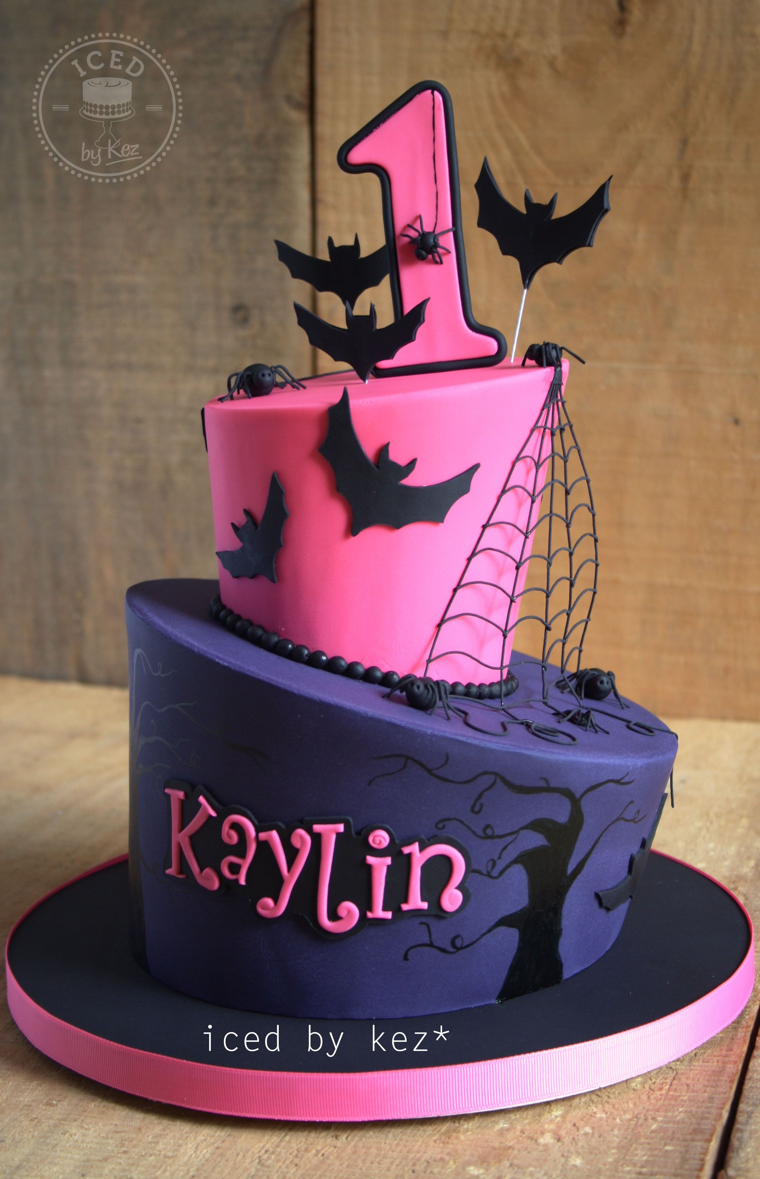 Halloween Themed 1st Birthday Cake iced by kez halloweencake