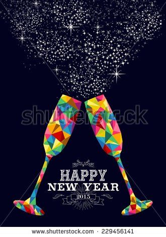 Happy new year 2015 greeting card or poster design with colorful happy new year 2015 greeting card or poster design with colorful triangle glass and vintage label illustration eps10 vector file with transparency layers m4hsunfo