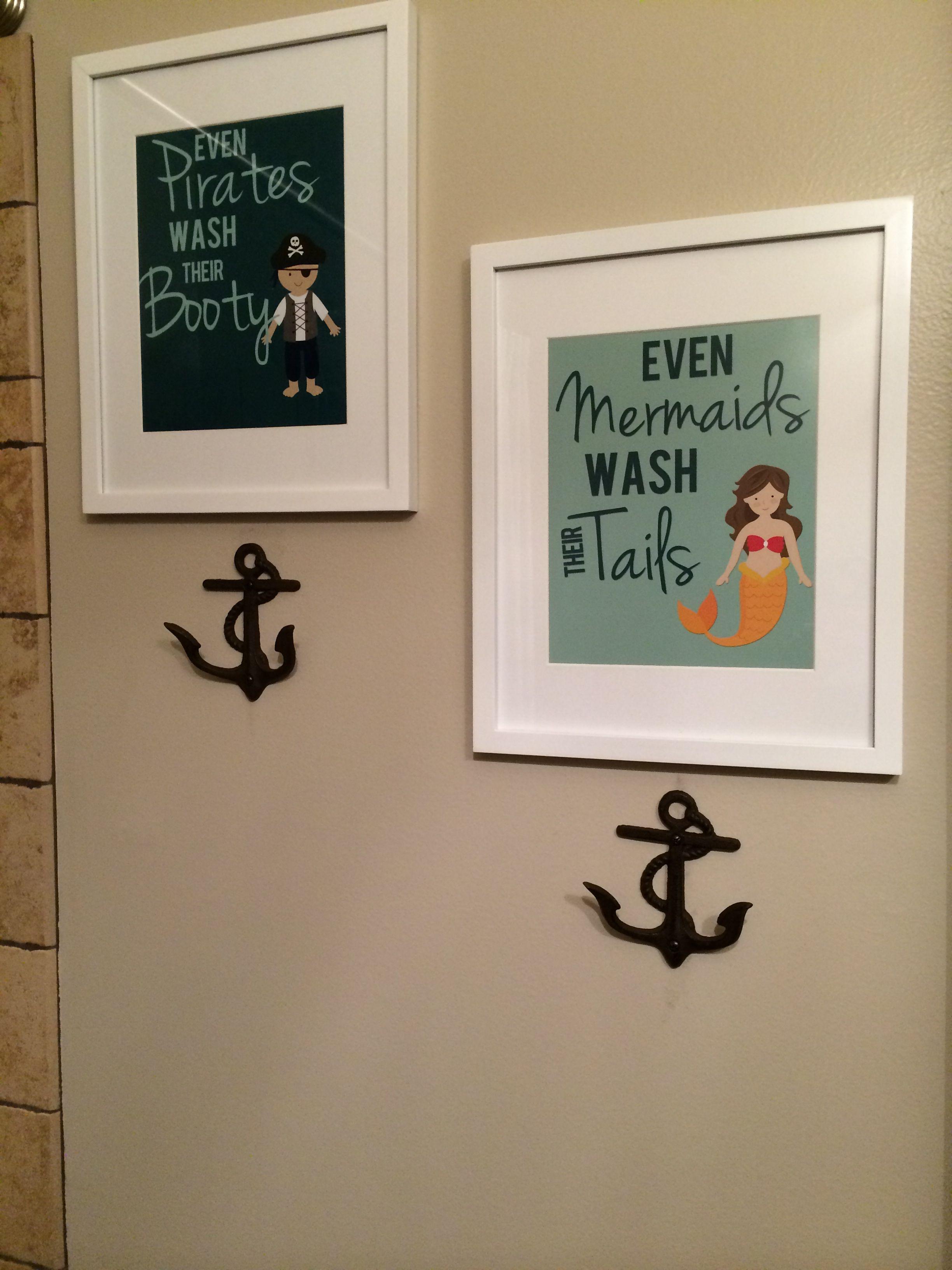 Kids mermaid bathroom decor - How Precious A Little Print For Each One Right Over A Towel Hook For Their Little Mermaid Bathroomocean