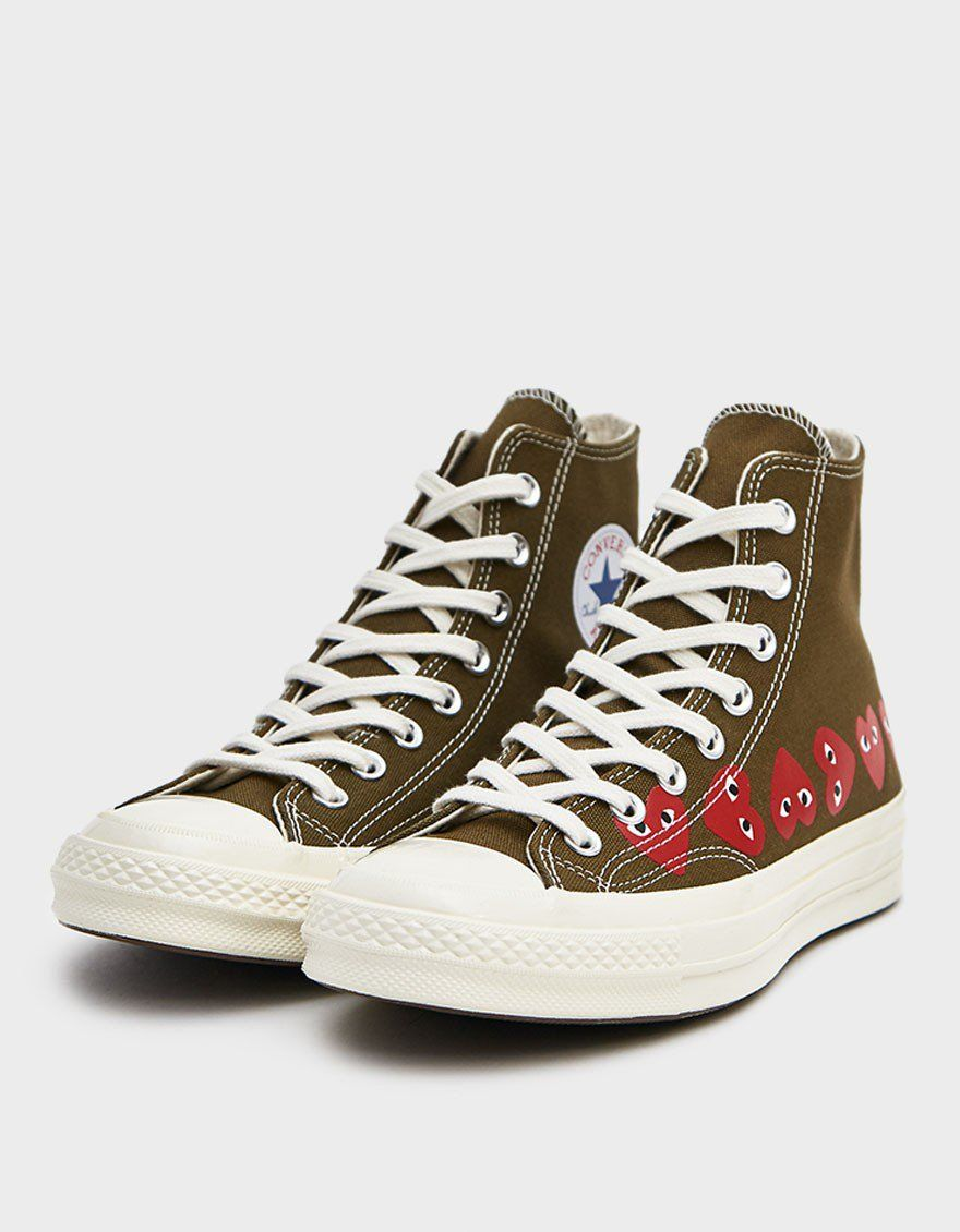 Play Converse High Multi Heart Sneaker in Khaki in 2020