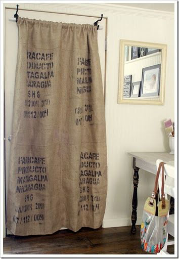 how to make a coffee sack curtain | Future House | Burlap ...