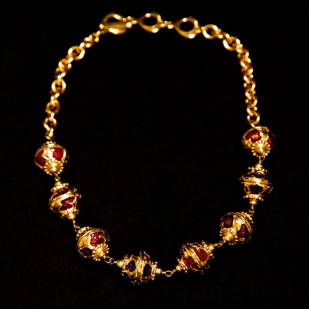 Yves saint laurent us rive gauche gold gilt and enamel necklace