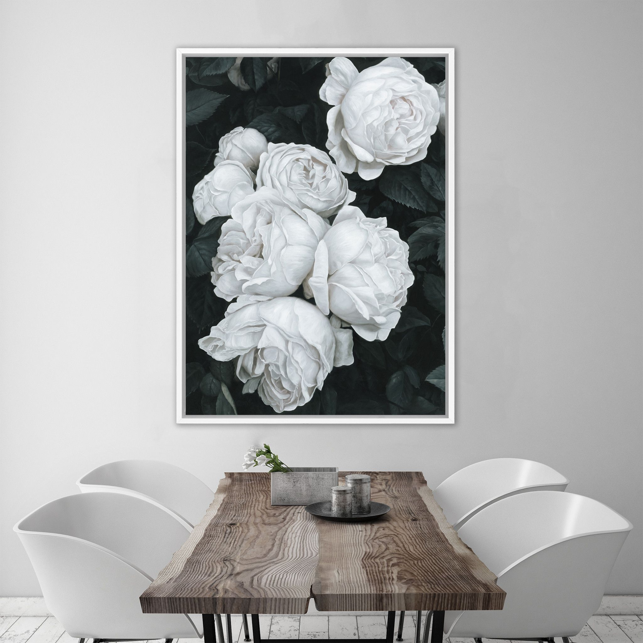 White roses canvas art print by the print emporium theprintemporium com au theprintemporium flowers floral art canvas roses wallart floralart