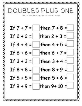 Doubles Plus Worksheets First Grade Math Worksheets 1st Grade Math Worksheets Homeschool Math
