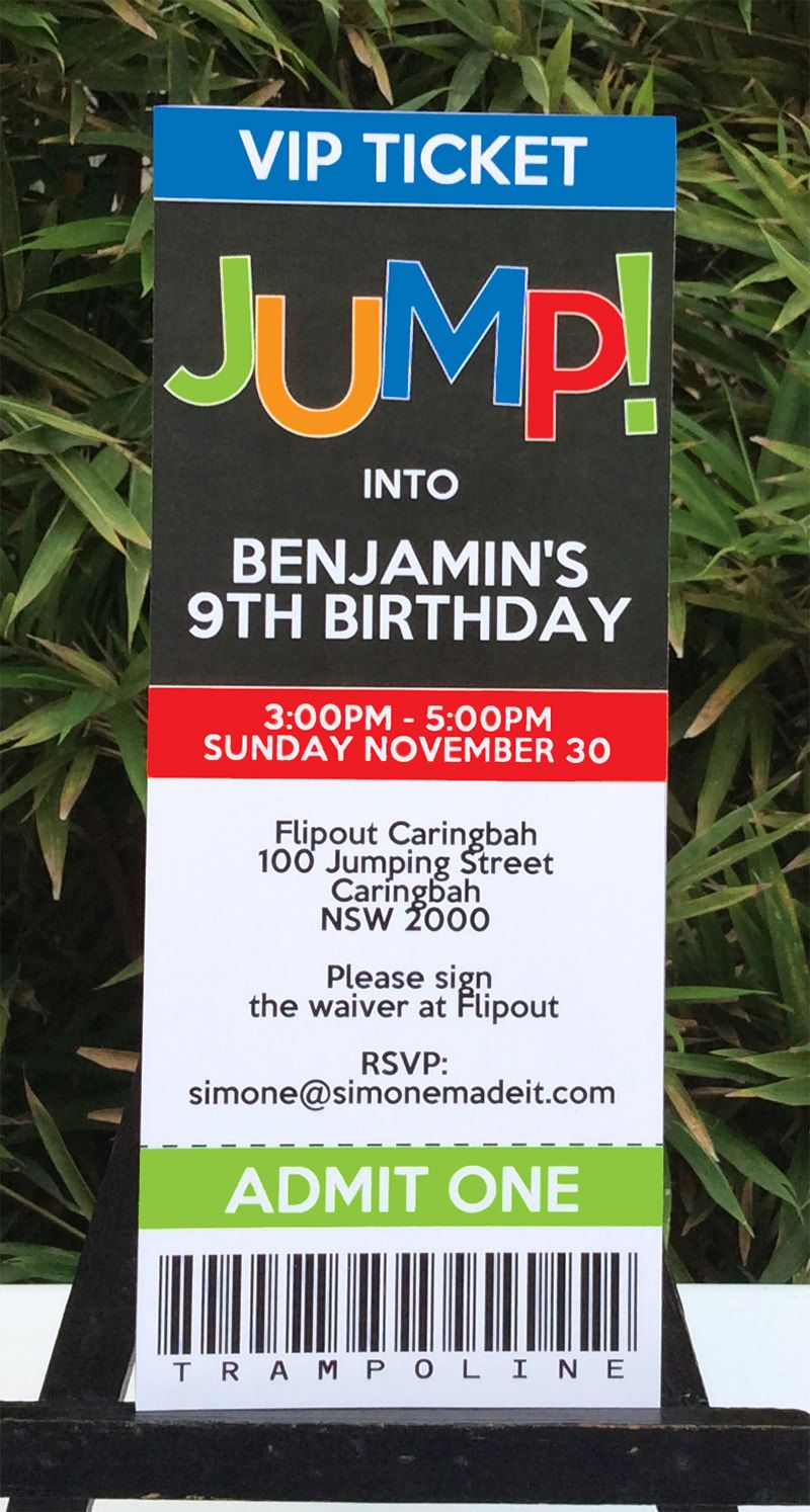 make your own birthday party invitations online for free%0A Trampoline Birthday Party Invitations
