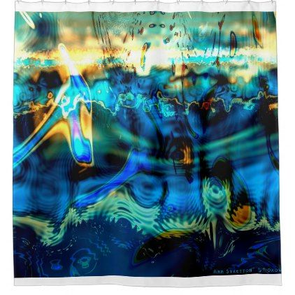 """Underwater abstract art """"Drowning Sound"""" blue Shower ..."""