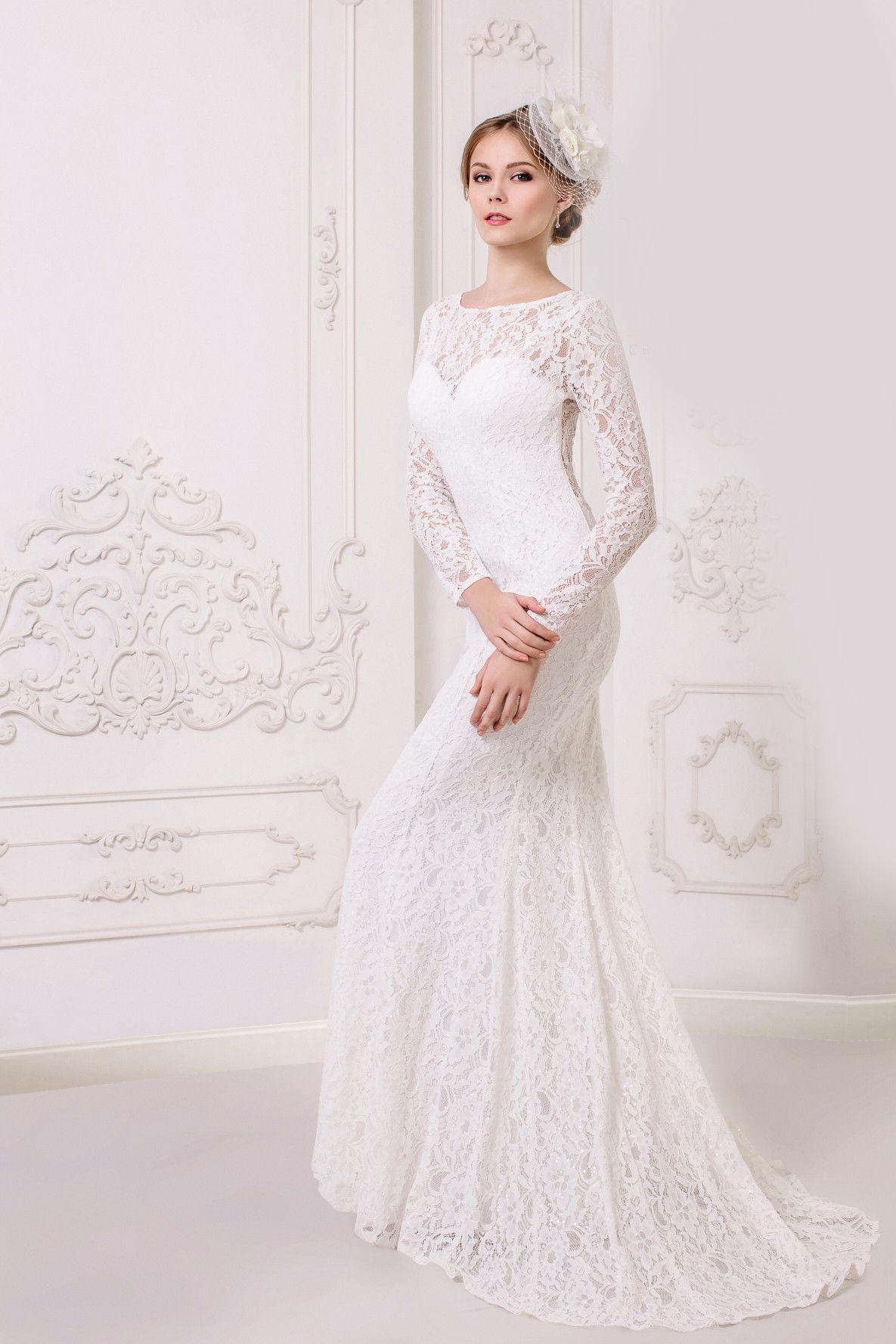Long Sleeve Long Lace Wedding Dress for mothertobe a