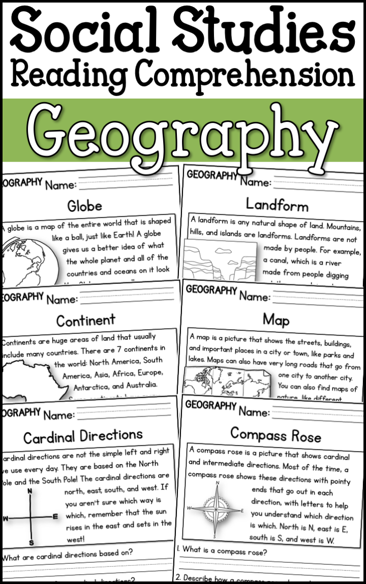 Geography Reading Comprehension Passages (K-2) - A Page Out of History   Social  studies worksheets [ 1150 x 720 Pixel ]