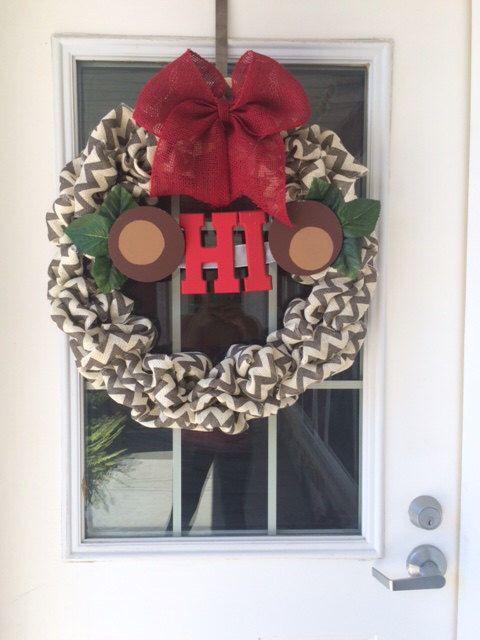 Photo of Items similar to Ohio State Chevron Burlap Wreath on Etsy