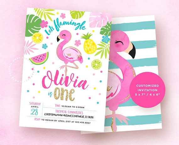 Flamingo invitation flamingo birthday invitation tropical party flamingo birthday invitation hawaiian party lets flamingle first birthday stopboris Image collections
