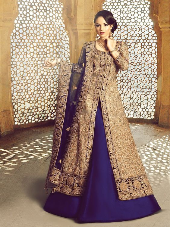 Blue Jacket Lehenga Wedding Dress
