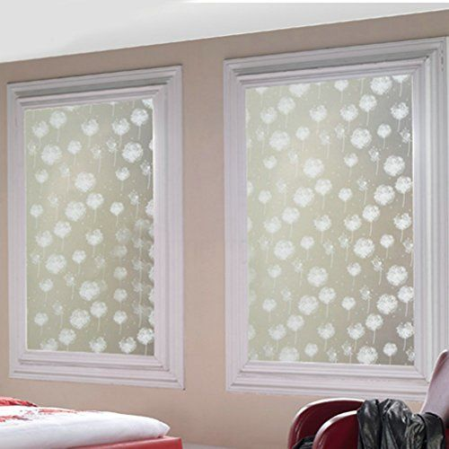 Dandelion Frosted Privacy Home Bedroom Bathroom Window Glass Film Sticker  Frosted Glass Sticker Decorative Window Film Privacy Floral Inch