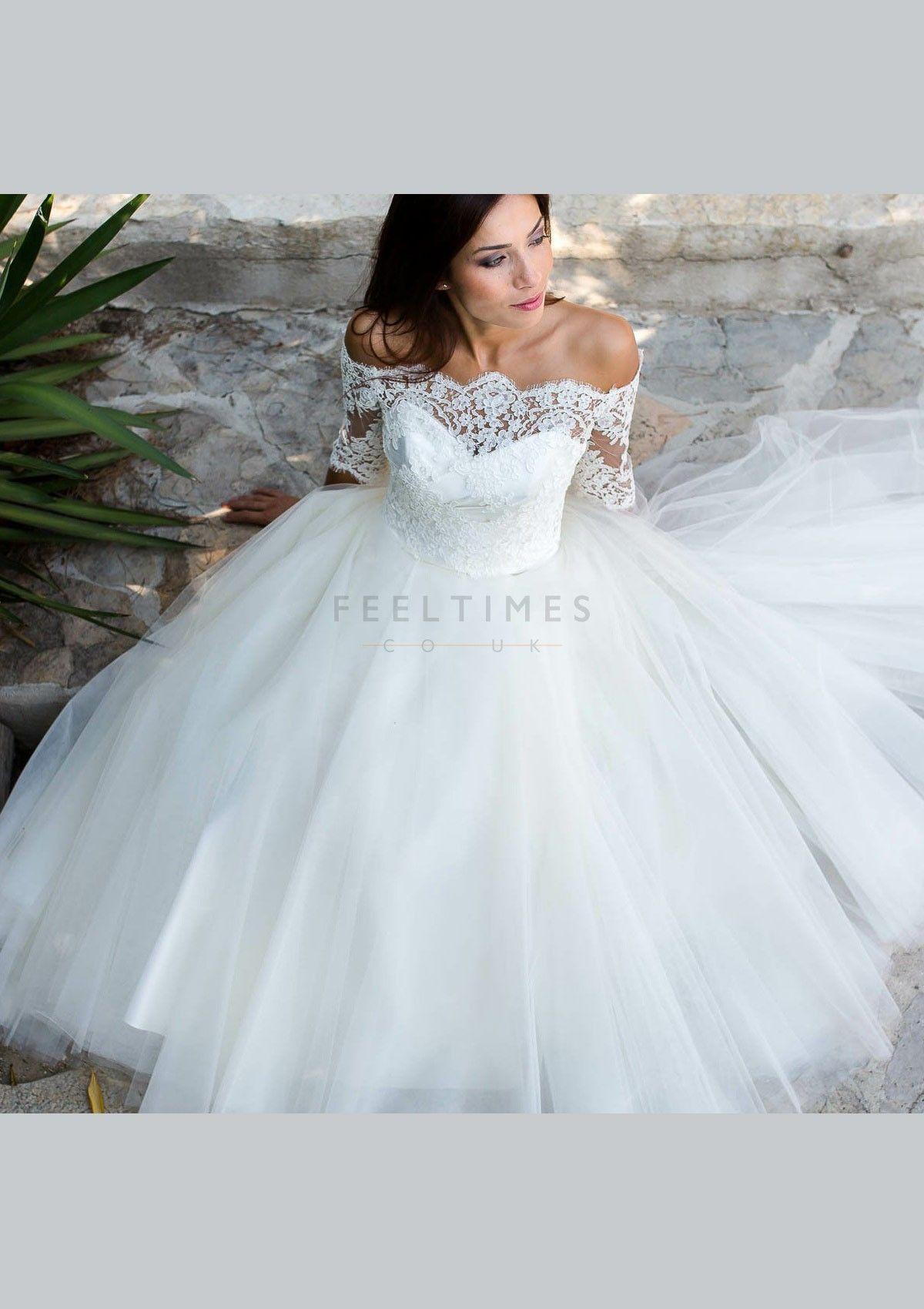A-Line/Princess Garden/Outdoor Tulle Wedding Dress Half Sleeve Ankle ...