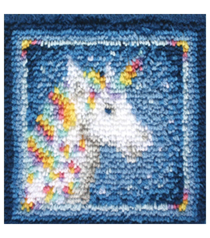 Wonderart Latch Hook Kit 12 X12 Unicorn