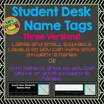 student desk name tags editable classroom fun pinterest
