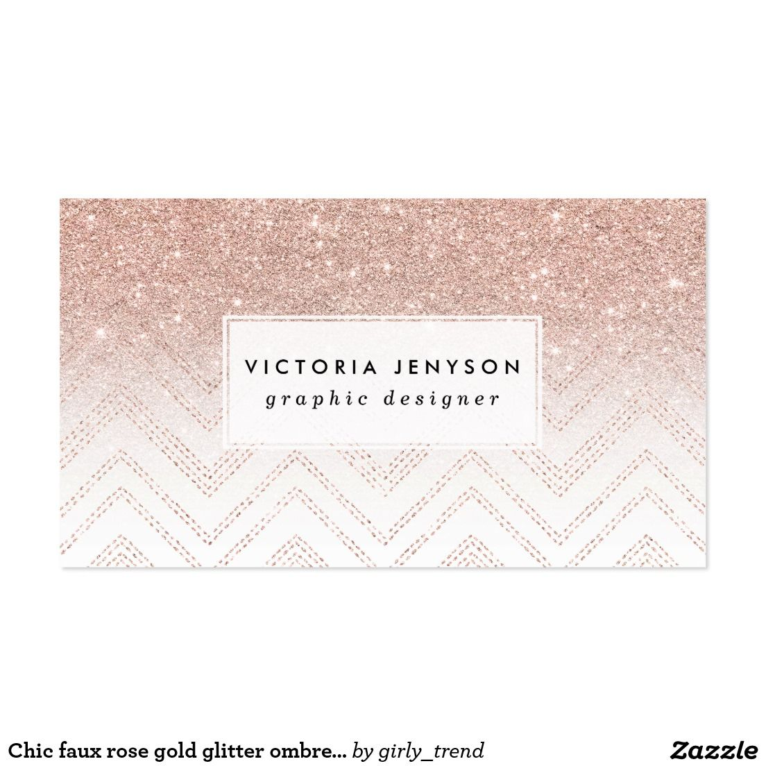 Chic faux rose gold glitter ombre modern chevron business card ...