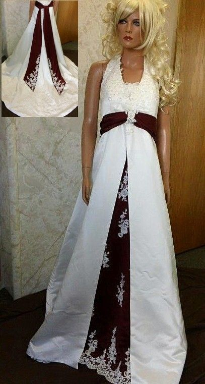 Ivory And Wine Halter Wedding Dress With Split Front Color Inset Sash Features Embellished Lace Motifs Highlighting The
