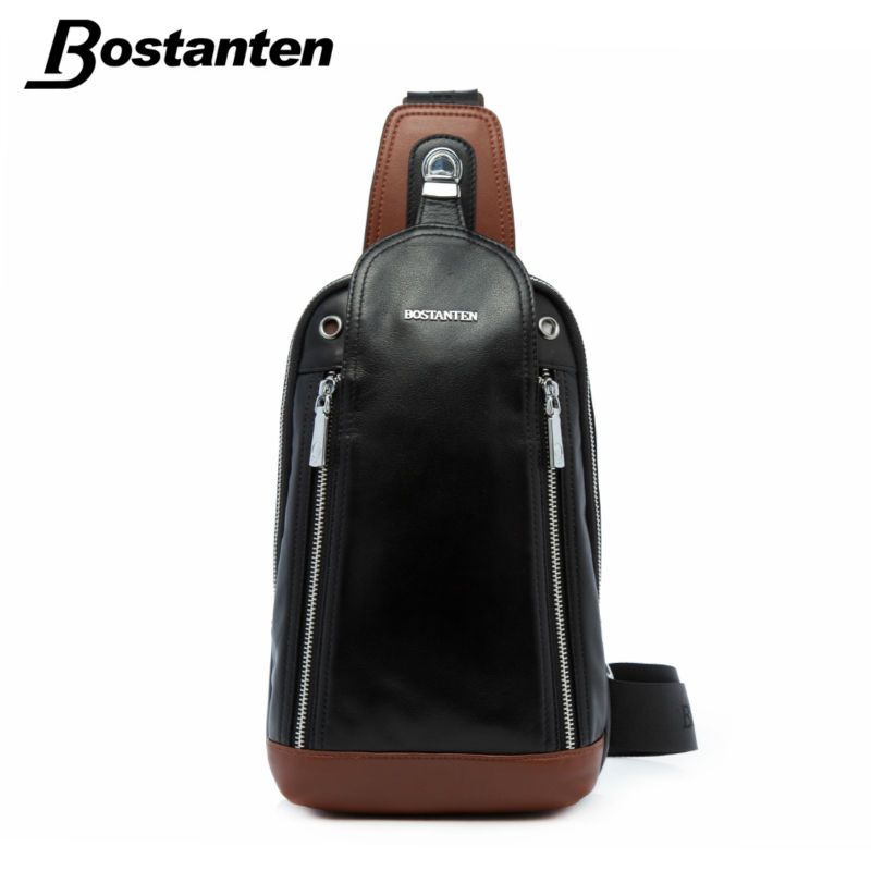 Details about Men's Black Real Leather Crossbody Backpack Sling ...