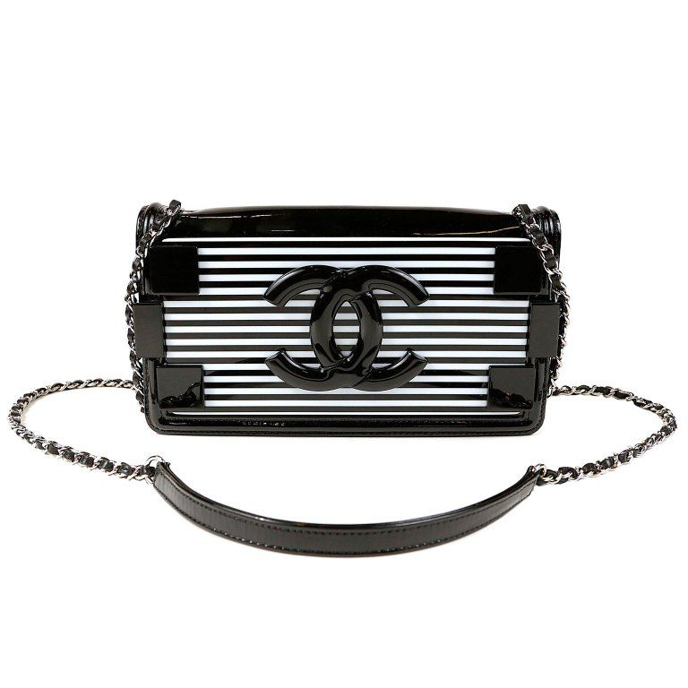ab1f3f9902ee Chanel Black and White Striped Resin Patent Leather Boy Brick Bag | From a  unique collection