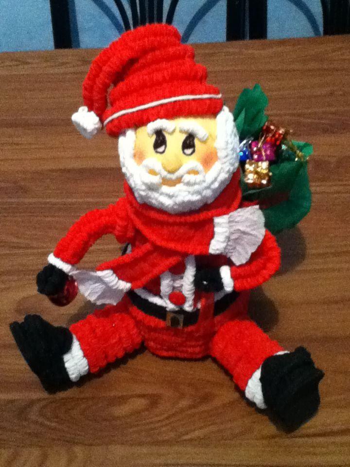 Santa Claus hecho de papel crepe!!!!