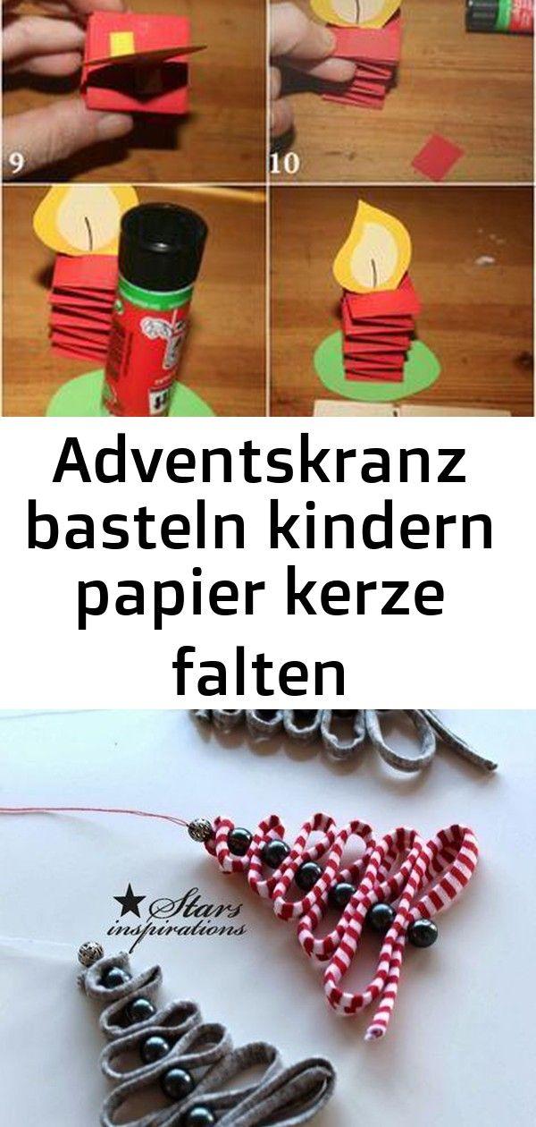 Adventskranz basteln kindern papier kerze falten wäscheklammer 1 #kleineweihnachtsgeschenkebasteln