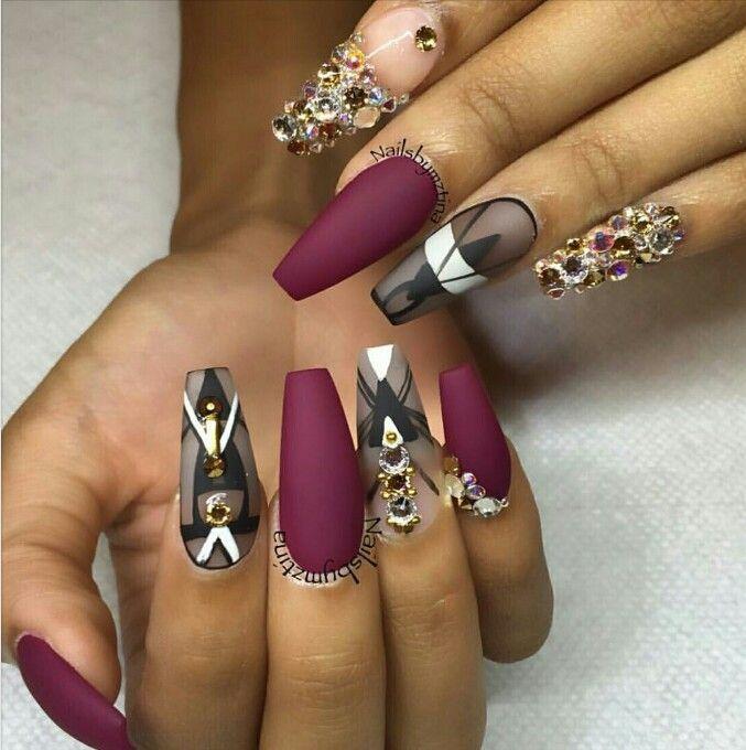 Burgundy Black Gold Nails
