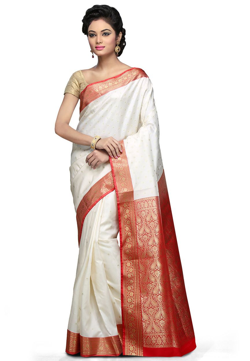 6120ddb5d2 Off White and Red Art Banarasi Silk Saree with Blouse: SUL429 ...