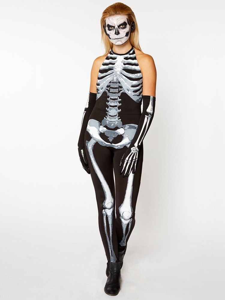Skeleton Leotard Ladies Fancy Dress Halloween Womens Adult Costume Accessory New