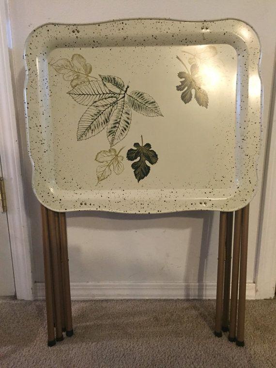 Vintage Mid Century Modern Set Of 3 Metal Folding TV Tray Tables Leaf Motif  The Trays