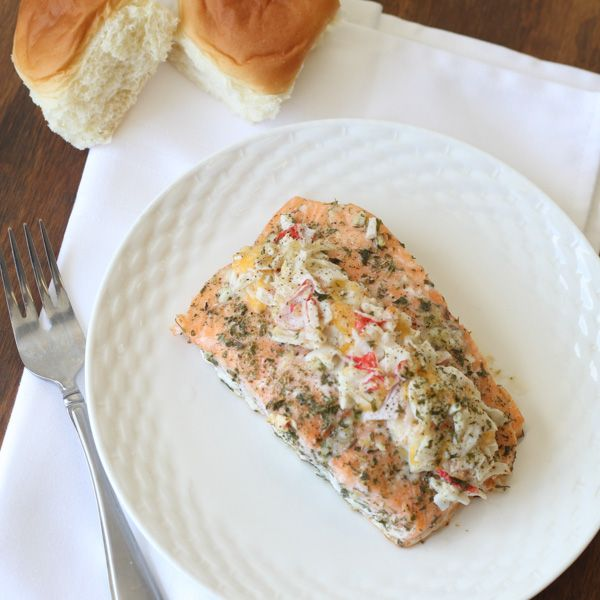 Salmon stuffed with a Parmesan Cheese Crab filling