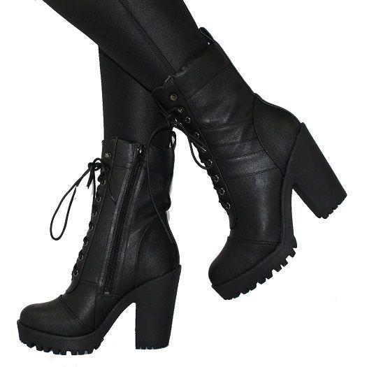 ad25a85e6fa Black High Heel Combat Boots | Clothes/Shoes in 2019 | High heel ...