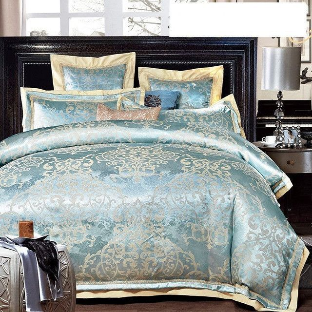 Best of 4 6pcs Green Jacquard Satin bedding set king queen Luxury duvet cover bed linen In 2019 - Amazing luxury king bedding Review