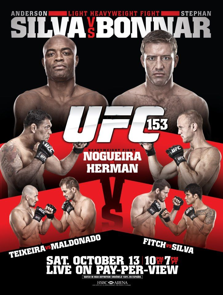 UFC 153 Silva vs. Bonnar Ufc poster, Ufc, Ufc events