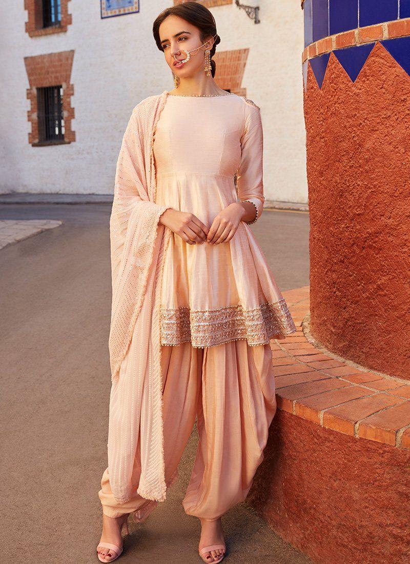b5568a141f Blush Cold Shoulder Peplum Style Punjabi Suit in 2019 | Salwar ...